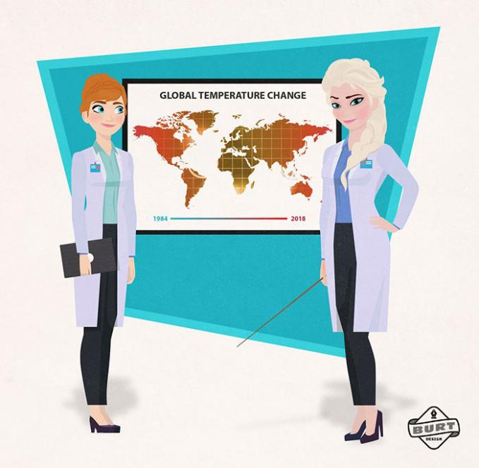 Anna dan Elsa jadi seorang ilmuwan cuaca. Mereka berdua lagi berkolaborasi gimana caranya memecahkan pemanasan global guys.