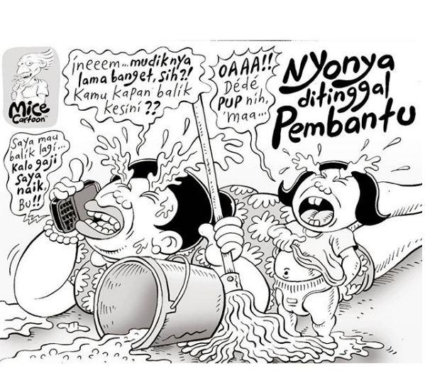 Si Inem protes karena gaji nggak naik dan mengancam nggak akan balik lagi tuh.