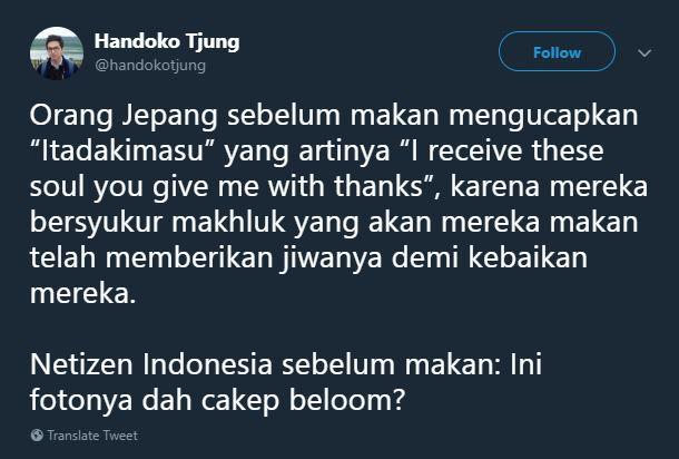 Lagi-lagi foto jadi kebiasaan anak jaman now di Indonesia ya Pulsker. Itu dia Pulsker perbedaan makan orang Jepang dengan orang Indonesia versi cuitan netizen. Mana paling kocak nih?
