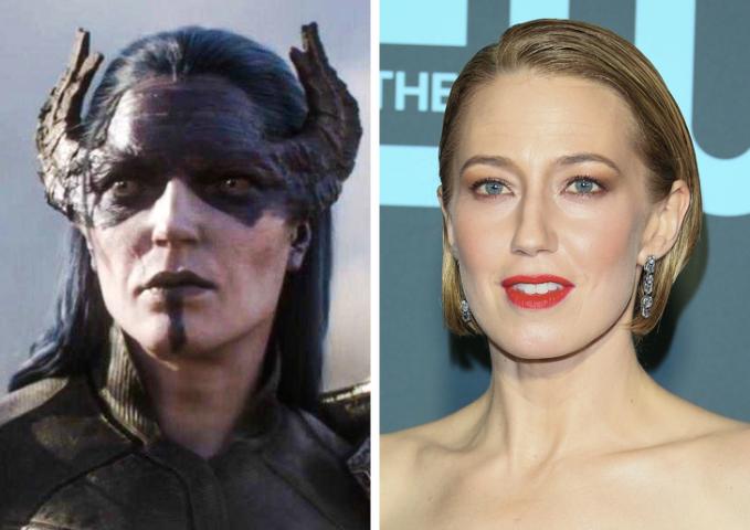 Siapa sangka pembantu thanos cewek yang memiliki penampilan seram dengan 2 tanduk di dekat matanya ini diperankan seorang aktris cantik bernama Carrie Coon. jauh banget ya bedanya :D